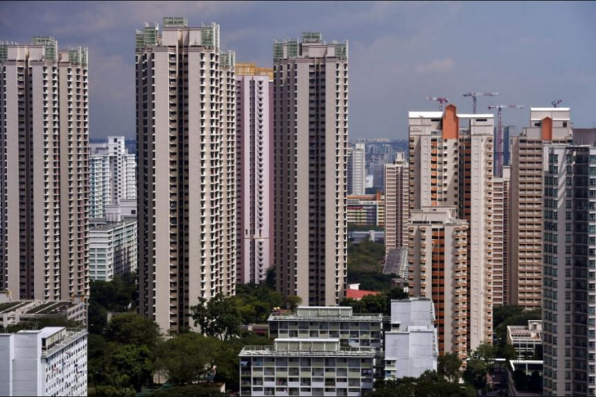 A view of public housing (HDB) and private housing in Toa Payoh, the central region of Singapore.