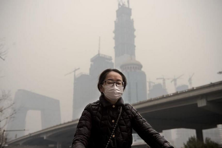 Pollution is a big problem in China as evident from the Beijing skyline in March 2017.