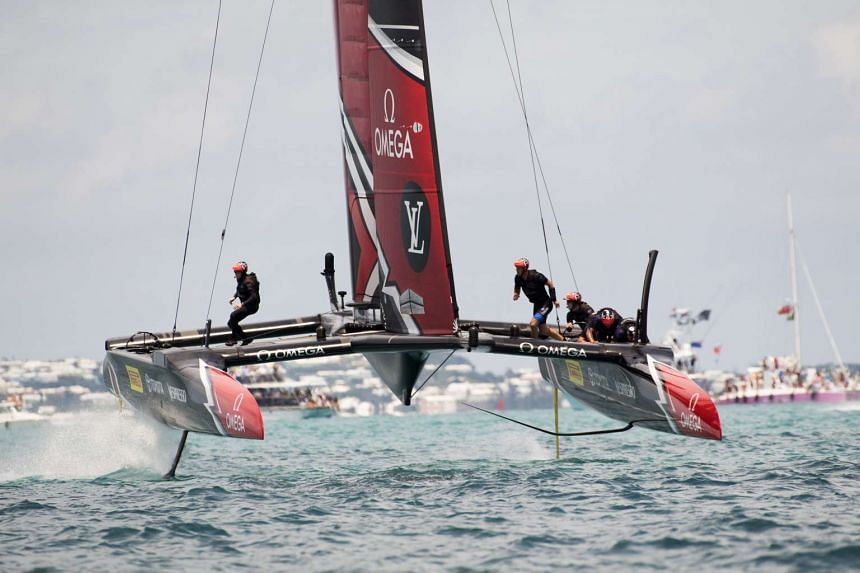 Emirates Team New Zealand races against Oracle Team USA (not pictured) in the Great Sound during the 35th America's Cup on June 26, 2017.