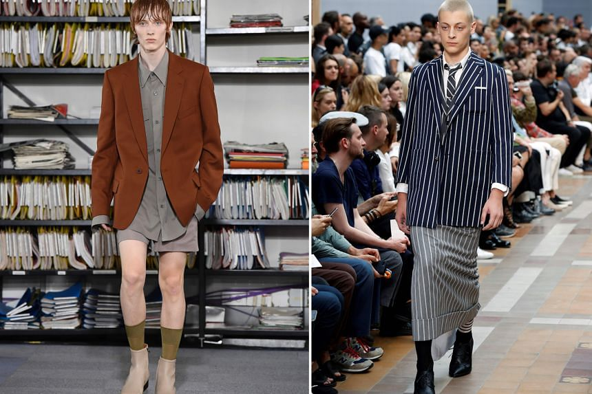 Left: A model presents a creation by Dries Van Noten during Men's Fashion Week for the Spring/Summer 2018 collection in Paris last week. Right: Designer Thom Browne cheekily slipped a few of his businessmen into skirts during Men's Fashion Week i
