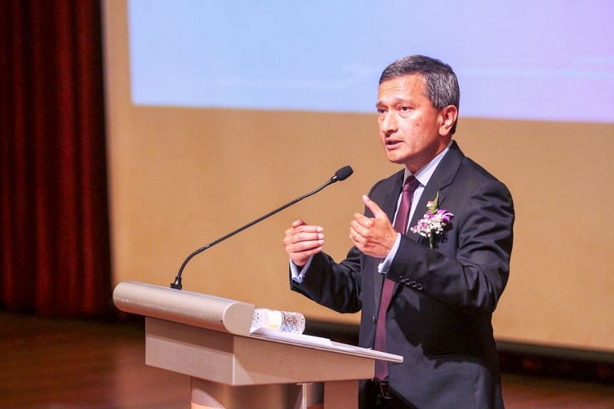 Minister for Foreign Affairs and Minister-in-charge of the Smart Nation initiative Dr Vivian Balakrishnan, giving an opening address for the 6th Singapore International Science Challenge 2017 (SISC) at National Junior College.