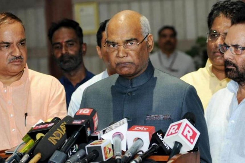 Bharatiya Janata Party (BJP) presidential candidate Ram Nath Kovind, speaks to the media after filing his nomination for the upcoming Presidential election at Parliament house in New Delhi, India, on June 23, 2017.