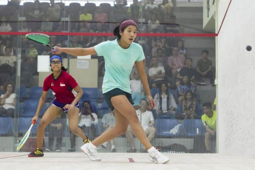 Singapore's Mao Shihui in action at the SSRA National Squash Championships 2017 in April where won the women's singles title.