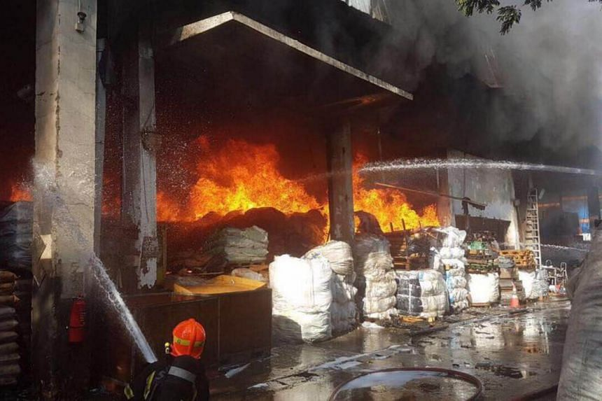 Two people were injured in a fire that broke out at a warehouse at 28, Tuas Avenue 10, on Saturday (June 24).