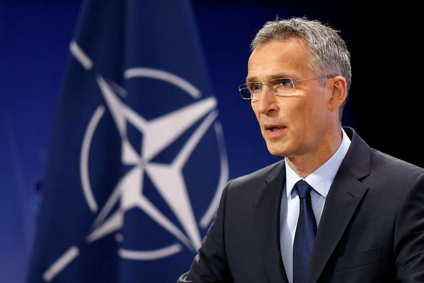 Nato Secretary-General Jens Stoltenberg addressing a news conference ahead of a Nato defence ministers meeting at the Alliance headquarters in Brussels, Belgium on June 28, 2017.