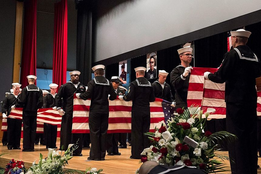 The US Navy held a memorial service yesterday for the seven sailors who were killed when the Arleigh Burke-class guided-missile destroyer USS Fitzgerald collided with a cargo ship off the coast of Japan on June 17. The private gathering was held at a