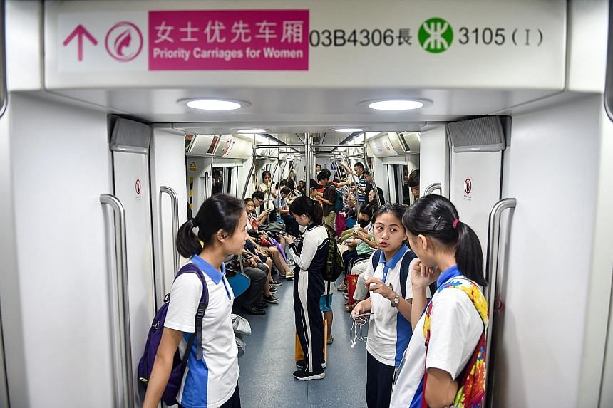 """A """"ladies first"""" carriage on the Shenzhen Metro, which introduced the service on four of its lines on Monday. The first and last carriages of every train on the four lines are now designated priority carriages for women."""