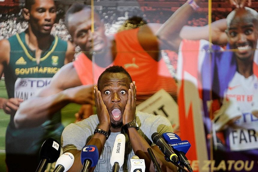 Eight-time Olympic champion Usain Bolt reacting in mock horror at a press conference for the Golden Spike meeting in Ostrava. The Jamaican sprint king will be using the race as warm-up ahead of August's world championships.
