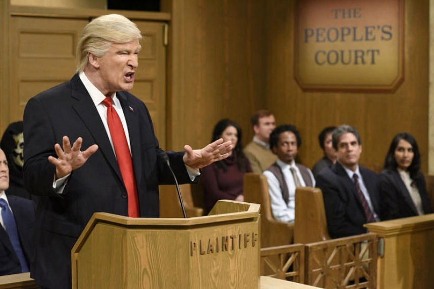 Alec Baldwin appearing as President Trump while hosting Saturday Night Live in February.