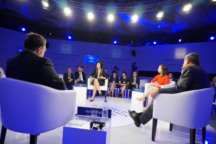 Senior Minister of State for Trade and Industry Sim Ann participating in a panel discussion at the World Economic Forum's summer meeting in Dalian, on June 27, 2017.
