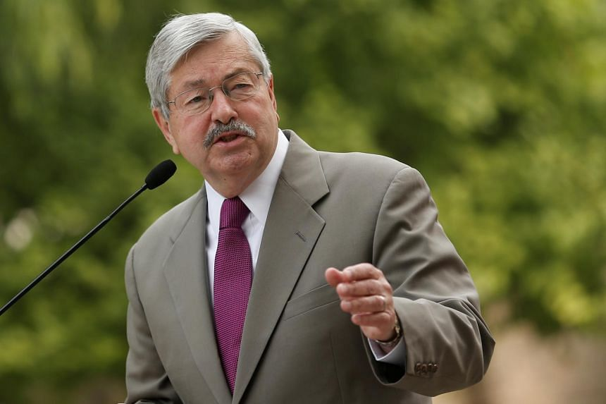 Mr Terry Branstad speaking to the media in front of his residence in Beijing, China, on June 28, 2017.