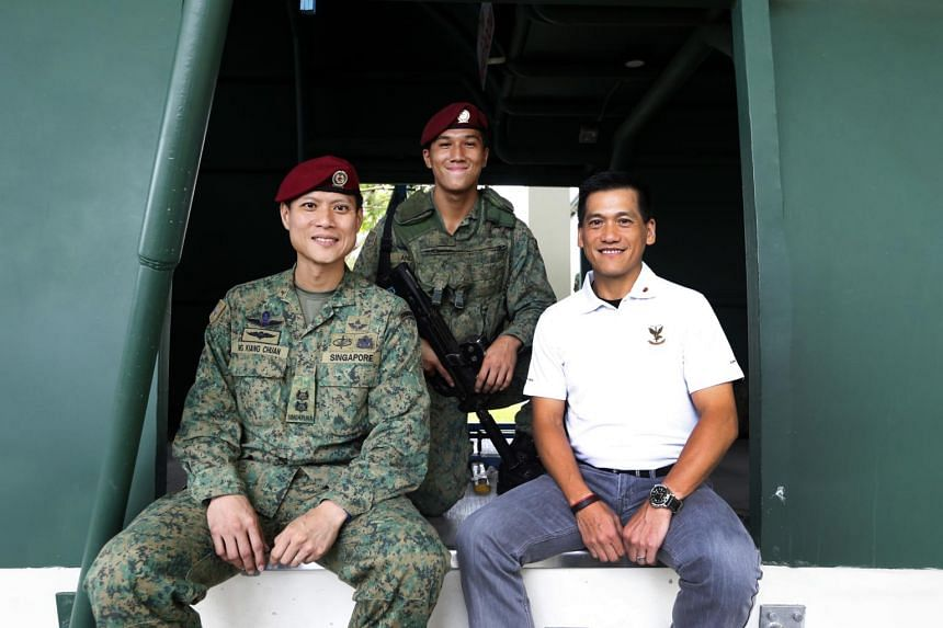 (From left) Lieutenant-Colonel Ng Kiang Chuan, Corporal Anders Seah and Mr Seah Yee Choon.
