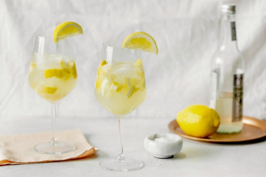 A lemon-ginger spritzer nonalcoholic cocktail, otherwise known as a mocktail, in LeGrangeville, NY, on June 19, 2017.