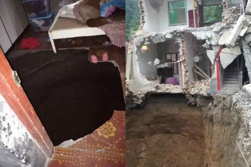 Rescuers dug 15m down but could not find a Hunan woman who fell into a sinkhole that appeared in her bedroom.