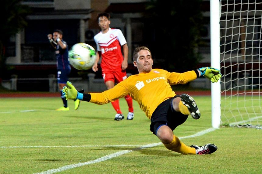 The Young Lions goalkeeper, Benjamin Bertrand made three superb saves to keep the score down against Warriors during the S.League match.