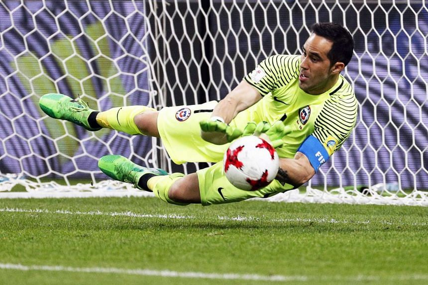 Chile's goalkeeper Claudio Bravo in action during the match.