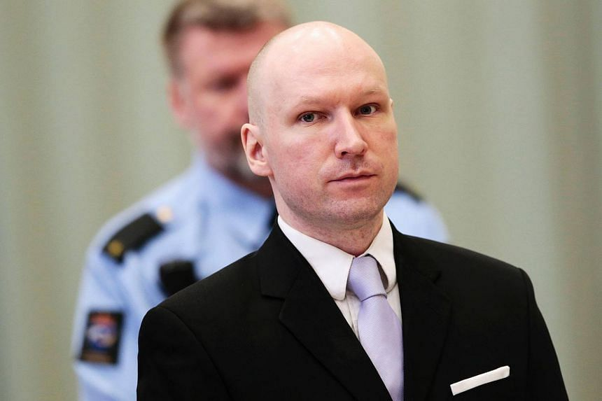 Norwegian mass killer Anders Behring Breivik attending his fourth and last day in court in Skien prison, on March 18, 2016.