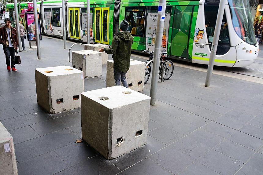 Bourke Street is one of nine locations in Melbourne's city centre where concrete blocks have been put up. In January, a man drove a car onto this street, killing six people and injuring more than 30.
