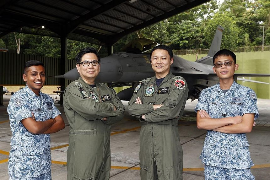 From left: ME1 Sarravannan Rengasamy, LTC (NS) Ong Swee Chuan, LTC Ong Teck Koon and 3SG Fang Wen Jie are part of 143 Squadron, which won the Best Fighter Squadron award.