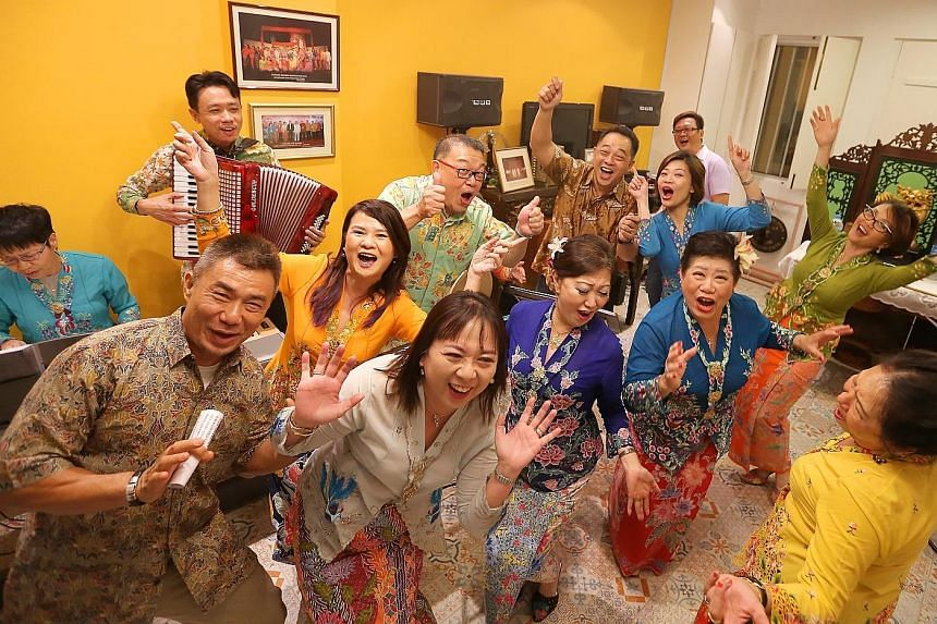 Members of the Gunong Sayang Association, which holds regular singing sessions. It has also been putting up Peranakan language performances almost every year since 1984.