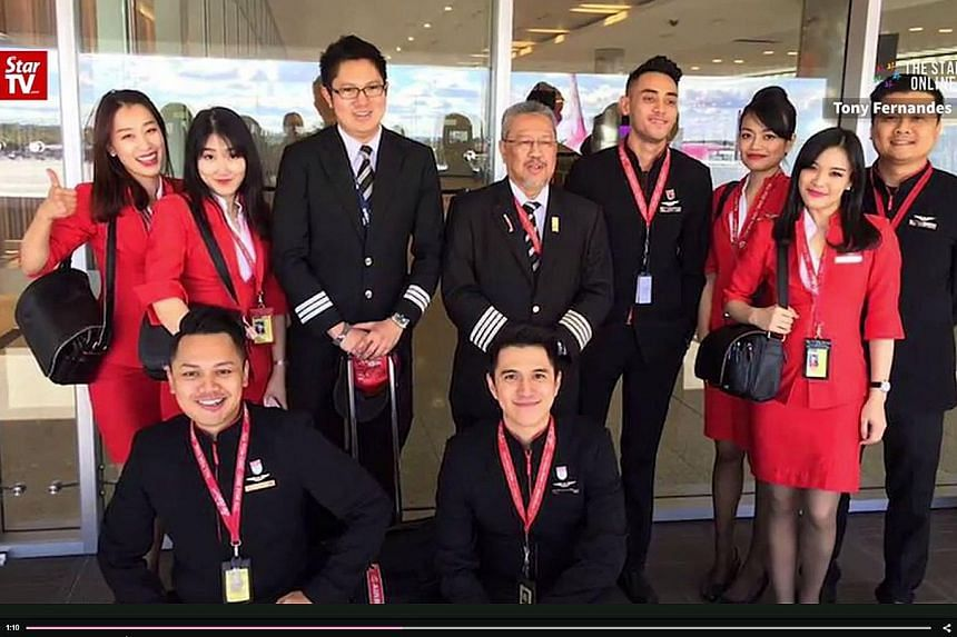 A screenshot of the affected AirAsia X flight's crew. Passenger Madeline Wright said the pilot had kept everyone calm during the turbulence.