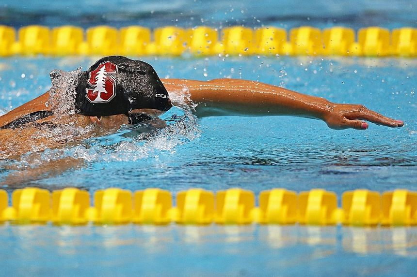 Katie Ledecky leaving rivals in her wake during the 800m freestyle final at the US National Championships. She clocked 8min 11.50sec in her pet event - close to nine seconds ahead of second-placed Leah Smith.