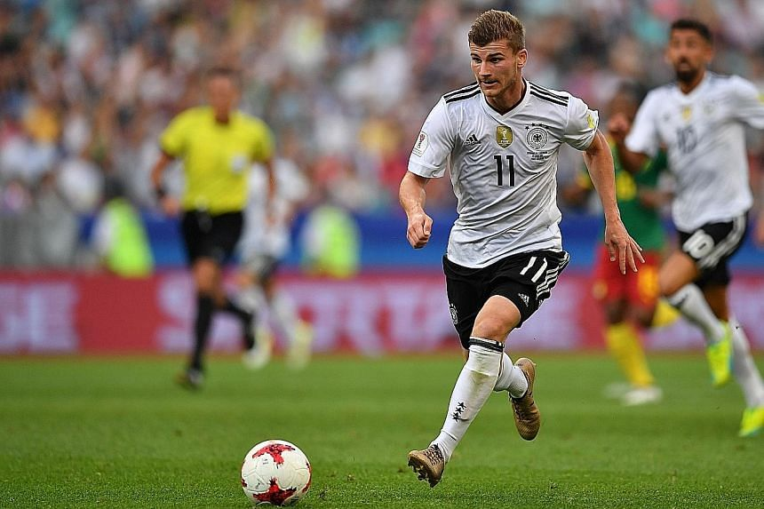 Germany forward Timo Werner impressing at the Confederations Cup. He is pushing for a semi-final starting spot against Mexico.