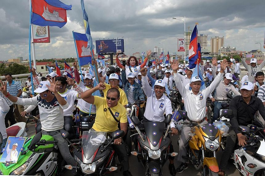 Cambodia National Rescue Party supporters at a rally on the last day of the commune election campaign in Phnom Penh earlier this month.