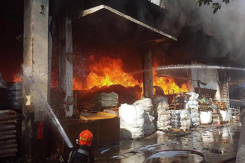The two Chinese workers suffered 66 per cent and 90 per cent burns respectively to their bodies. The fire, which involved scrap metals and plastic materials, broke out at a warehouse at 28, Tuas Avenue 10 last week.