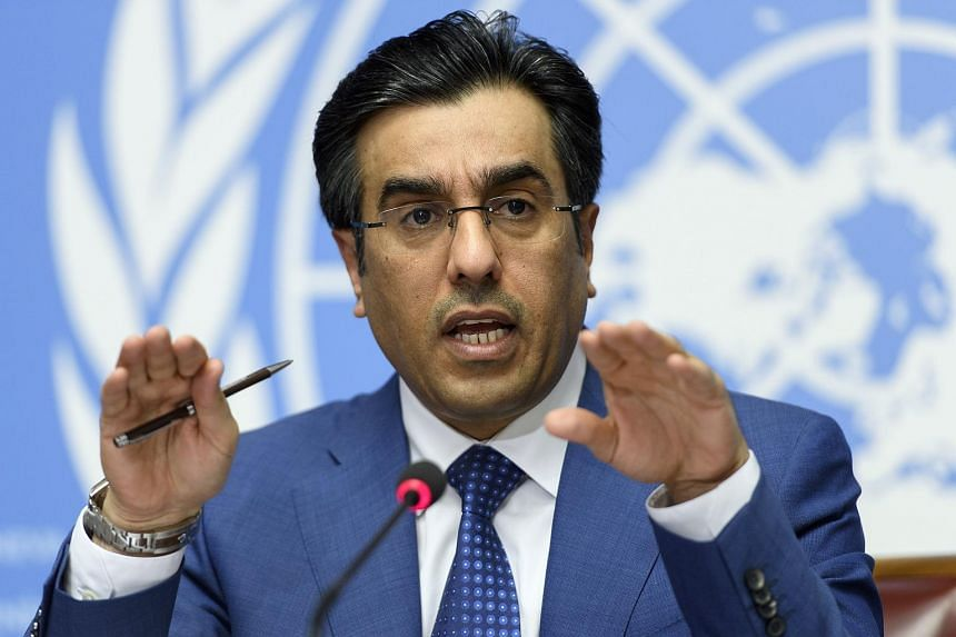 Ali bin Smaikh Al-Marri, Chairman of the Qatari National Human Rights Committee, speaks during a press conference at the European headquarters of the United Nations, in Geneva, Switzerland on June 16, 2017.