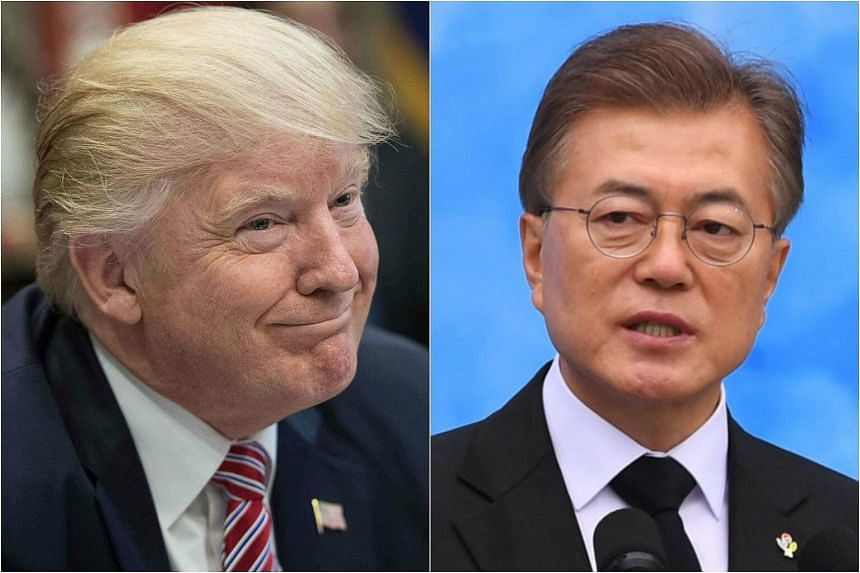President Donald Trump (left) will get a first taste of this less friendly landscape today, when he hosts South Korea's newly elected President Moon Jae In to dinner at the White House.