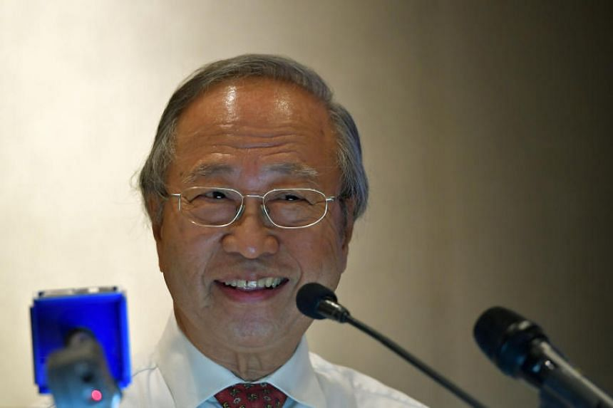 Tan Cheng Bock speaking at a press conference held at the Sheraton Towers.