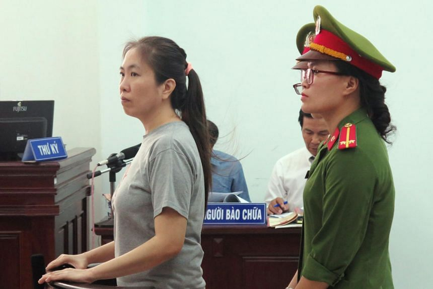 "Vietnamese blogger Nguyen Ngoc Nhu Quynh, also known as ""Mother Mushroom"", standing trial at a courthouse in the central city of Nha Trang on June 29, 2017."