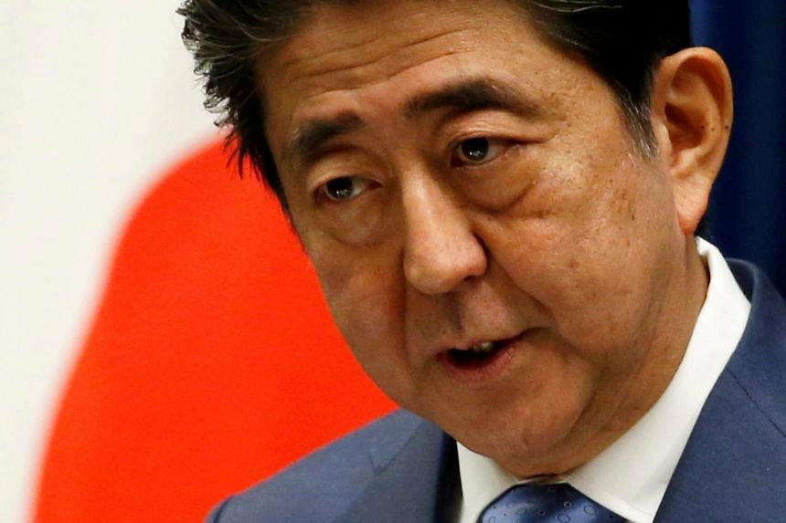 Japan's Prime Minister Shinzo Abe attending a news conference after a parliament session at his official residence in Tokyo, Japan on June 19, 2017.