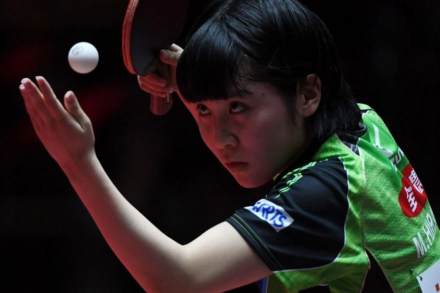 Japan´s Miu Hirano in action during the World Table Tennis Championships in Duesseldorf, western Germany on June 2, 2017.