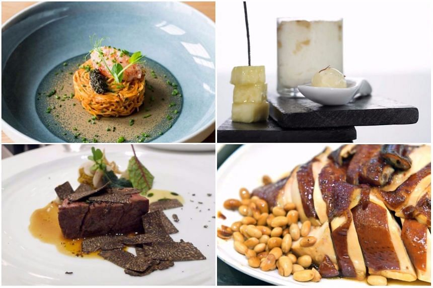 (Clockwise from top left) Tagliolini with red prawn tartare and baeri caviar, Crema Catalana, Soya Sauce Chicken and Grass-fed Beef Fillet with aubergine compote and black truffle shavings.