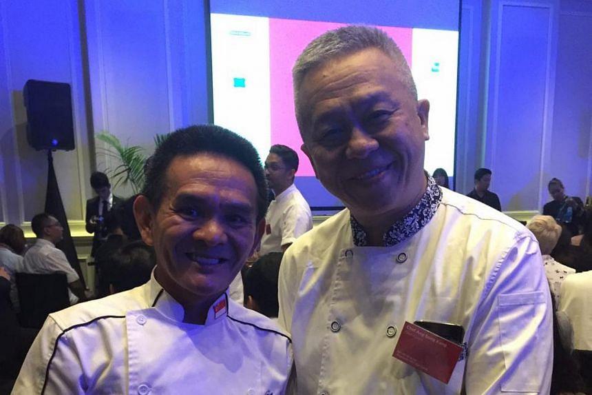 Cooking veterans chef Chan Hon Meng, aka Hawker Chan, and Chef Ang Song Kang, of Chef Kang's at the gala dinner.