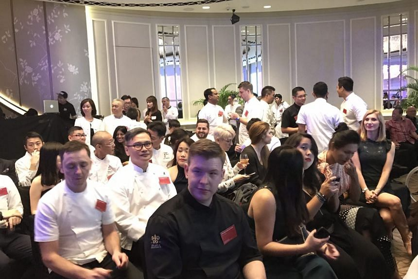 Chefs at the Singapore Michelin Guide ceremony waiting for it to begin, at the Fullerton Hotel on June 29, 2017.