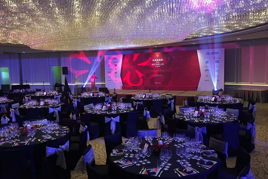The Fullerton Hotel ballroom set up for the Michelin Guide ceremony later tonight.