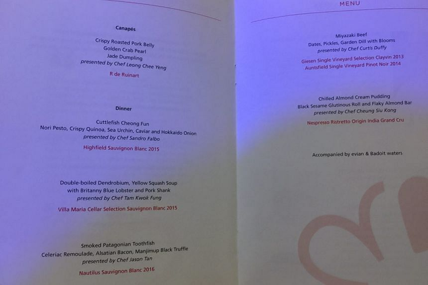 The menu for the Michelin Guide ceremony, a five-course wine-pairing dinner.