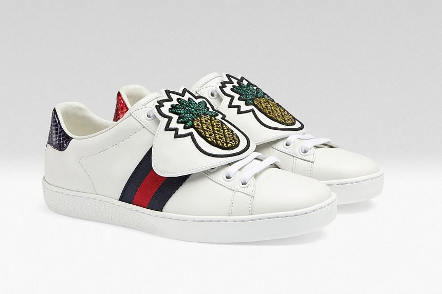 f70850586f9 Ace sneaker with removable embroidered pineapple patches