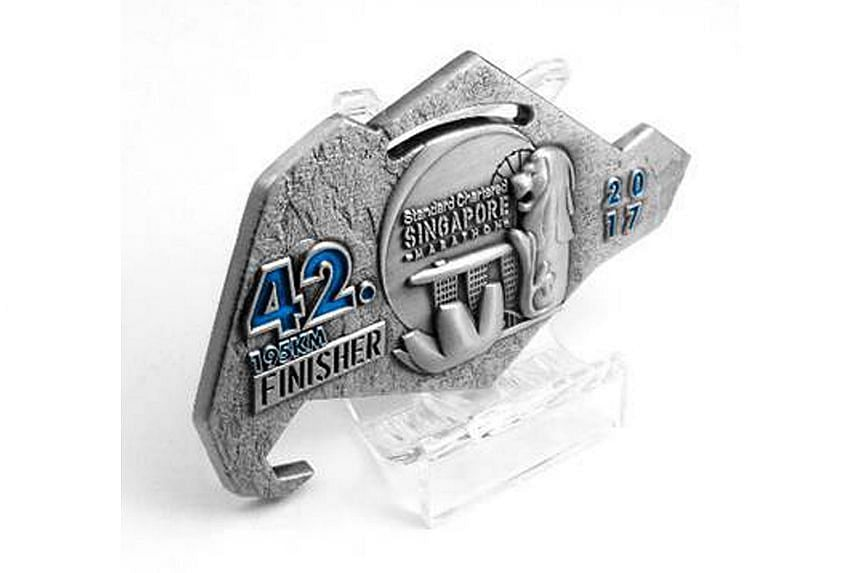 Organisers of this year's Standard Chartered Marathon unveiled a new finisher's medal on June 28, 2017.