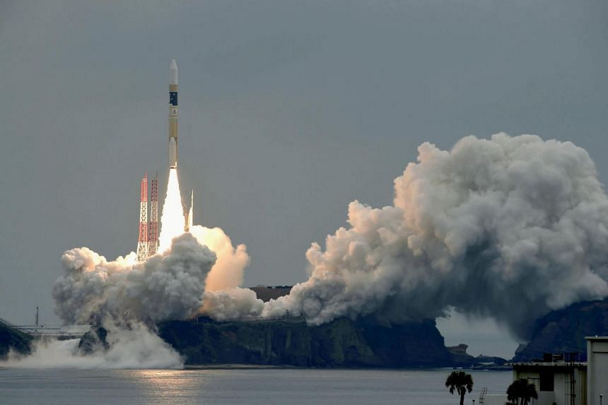 A H-IIA rocket, carrying a Michibiki 2 satellite lifts off from the launching pad at Tanegashima Space Center on June 1, 2017.