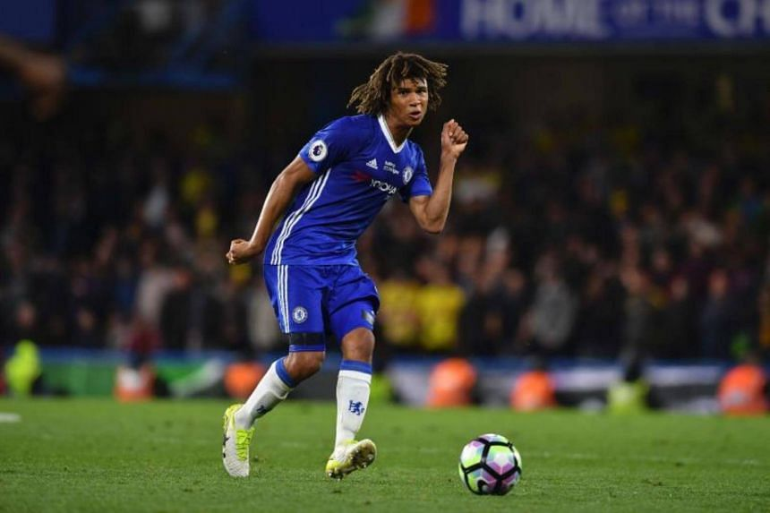Chelsea's Dutch defender Nathan Ake plays the ball during the English Premier League football match between Chelsea and Watford at Stamford Bridge in London on May 15, 2017.