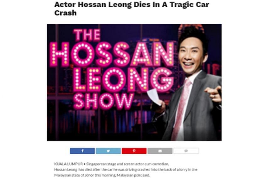 """The report said that Hossan Leong """"crashed into the back of a lorry in the Malaysian state of Johor"""" while driving to Malacca."""