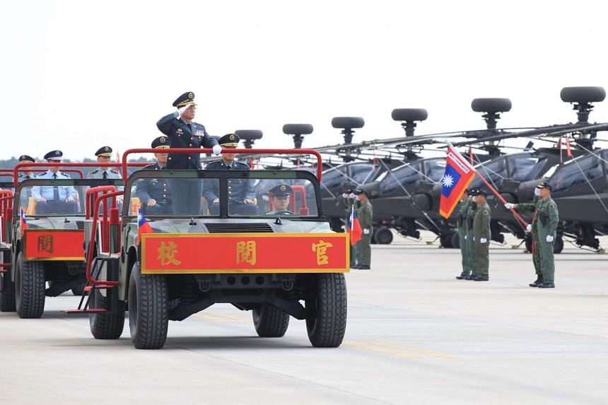 A ceremony is held in Taiwan following the purchase of 30 US Apache helicopters, June 28, 2017.