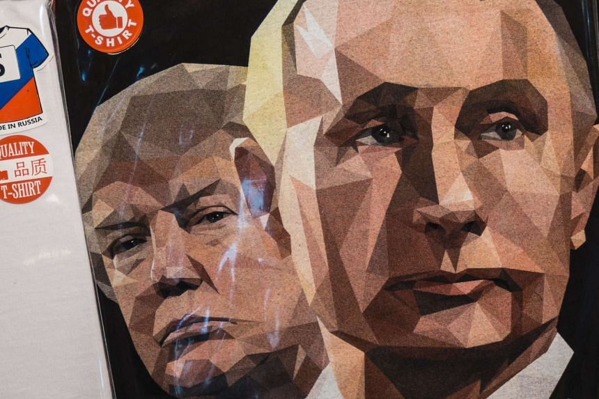 A T-shirt featuring Trump and Putin on sale in at a souvenir shop in Saint Petersburg, Russia.