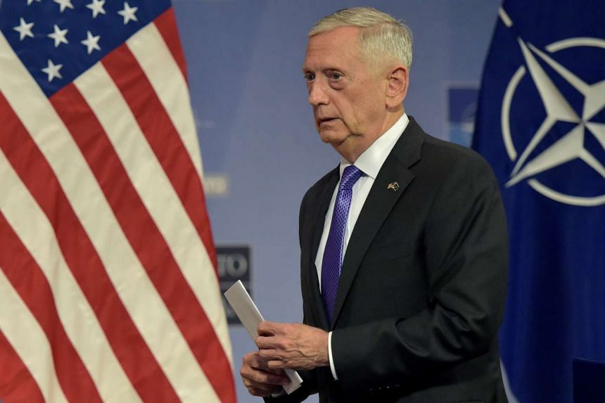 Mattis leaves a news conference after a Nato defence ministers meeting in Brussels, June 29, 2017.