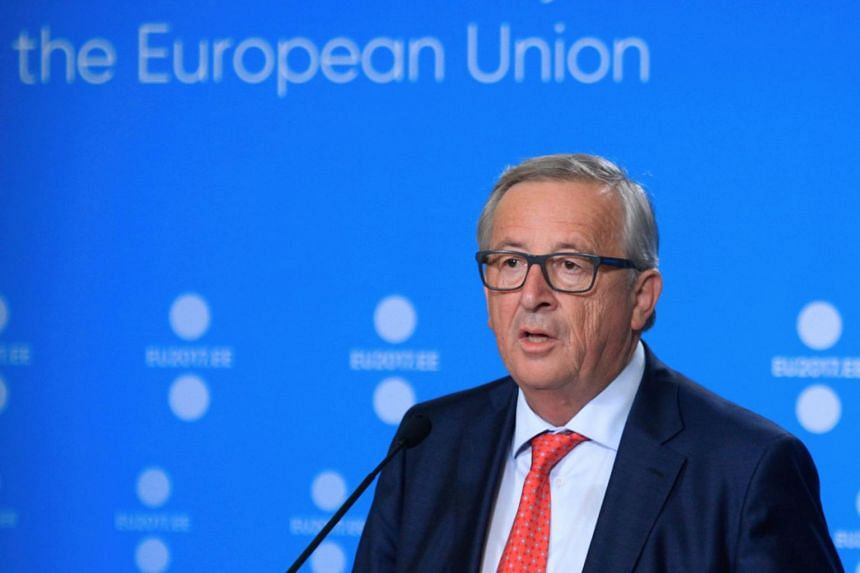 President of the European Commission Jean-Claude Juncker holding a press conference to mark the start of Estonia's six month rotating EU presidency at the Creative Hub (Kultuurikatel) in Tallinn, on June 30, 2017.