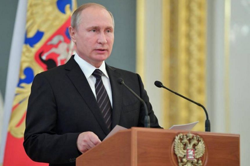 Russian President Vladimir Putin speaks at a reception in honour of Russian military academy graduates at the Grand Kremlin Palace in Moscow, Russia, on June 28, 2017.